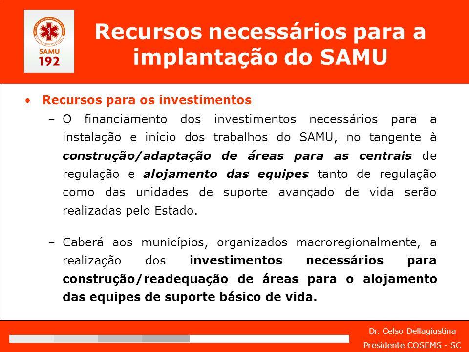 Dr. Celso Dellagiustina Presidente COSEMS - SC Recursos necessários para a implantação do SAMU Recursos para os investimentos –O financiamento dos inv
