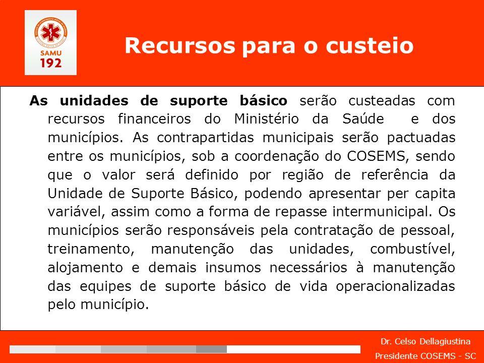 Dr. Celso Dellagiustina Presidente COSEMS - SC Recursos para o custeio As unidades de suporte básico serão custeadas com recursos financeiros do Minis