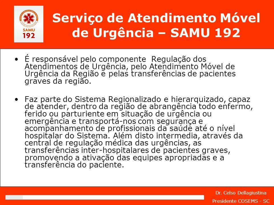Dr. Celso Dellagiustina Presidente COSEMS - SC Serviço de Atendimento Móvel de Urgência – SAMU 192 É responsável pelo componente Regulação dos Atendim