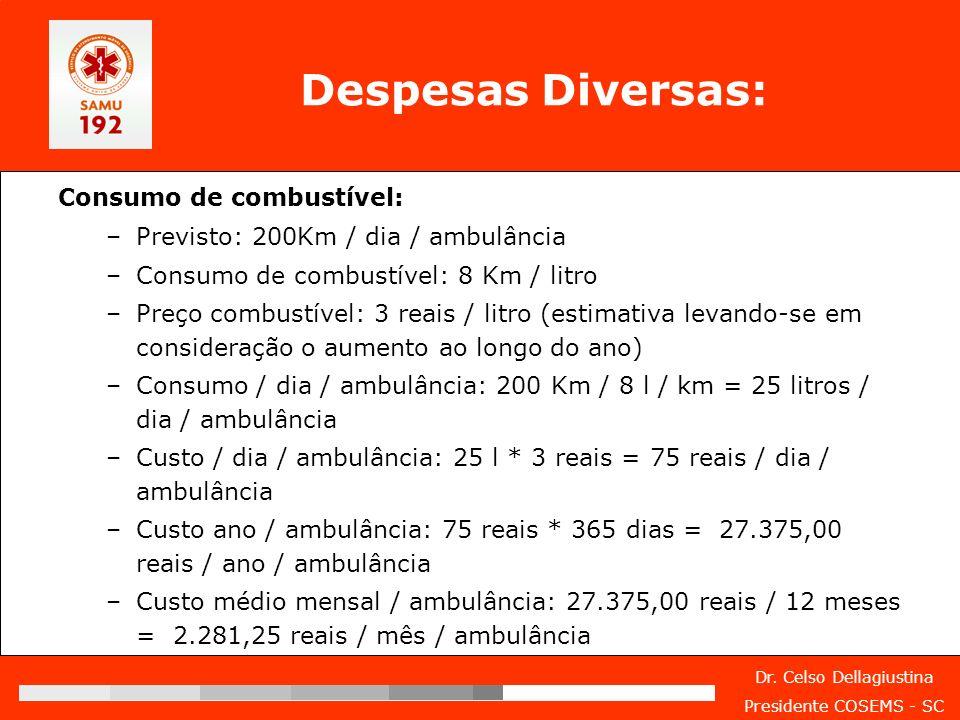 Dr. Celso Dellagiustina Presidente COSEMS - SC Despesas Diversas: Consumo de combustível: –Previsto: 200Km / dia / ambulância –Consumo de combustível: