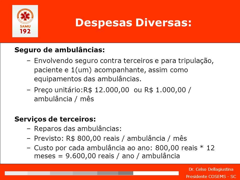 Dr. Celso Dellagiustina Presidente COSEMS - SC Despesas Diversas: Seguro de ambulâncias: –Envolvendo seguro contra terceiros e para tripulação, pacien