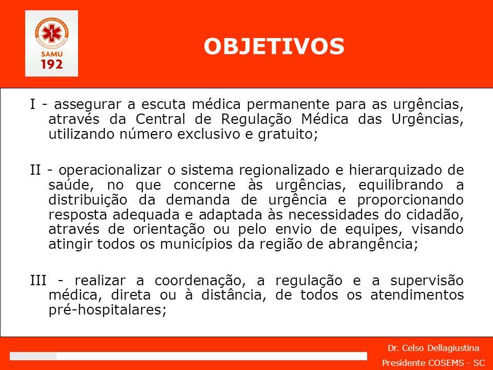 Dr. Celso Dellagiustina Presidente COSEMS - SC OBJETIVOS I - assegurar a escuta médica permanente para as urgências, através da Central de Regulação M