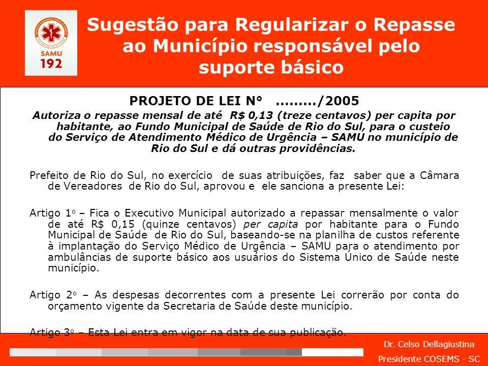 Dr. Celso Dellagiustina Presidente COSEMS - SC Sugestão para Regularizar o Repasse ao Município responsável pelo suporte básico PROJETO DE LEI N°.....