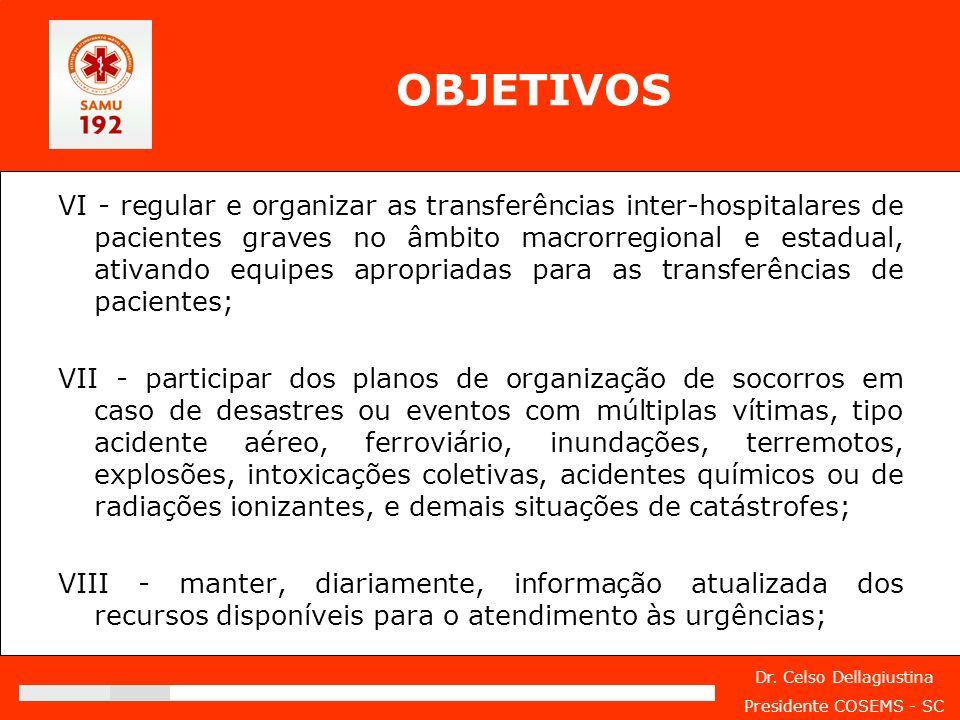 Dr. Celso Dellagiustina Presidente COSEMS - SC OBJETIVOS VI - regular e organizar as transferências inter-hospitalares de pacientes graves no âmbito m