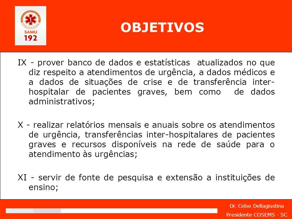 Dr. Celso Dellagiustina Presidente COSEMS - SC IX - prover banco de dados e estatísticas atualizados no que diz respeito a atendimentos de urgência, a