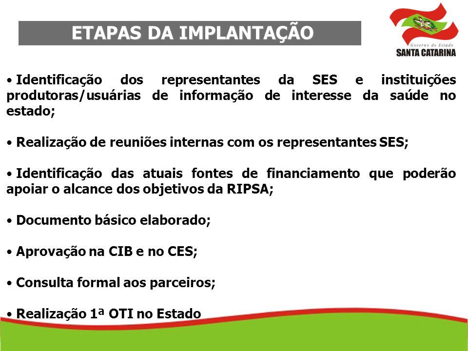 ETAPAS DA IMPLANTAÇÃO ETAPAS DA IMPLANTAÇÃO Identificação dos representantes da SES e instituições produtoras/usuárias de informação de interesse da s