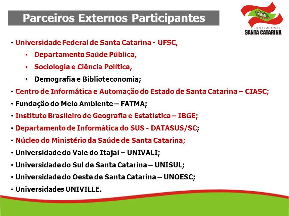 Parceiros Externos Participantes Universidade Federal de Santa Catarina - UFSC, Departamento Saúde Pública, Sociologia e Ciência Política, Demografia