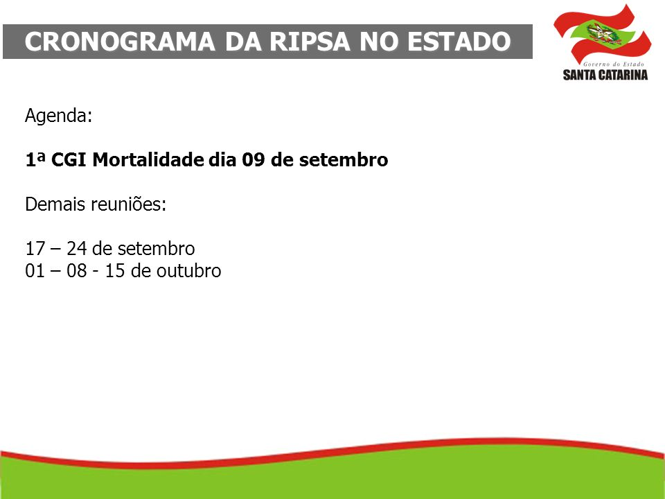 CRONOGRAMA DA RIPSA NO ESTADO Agenda: 1ª CGI Mortalidade dia 09 de setembro Demais reuniões: 17 – 24 de setembro 01 – 08 - 15 de outubro