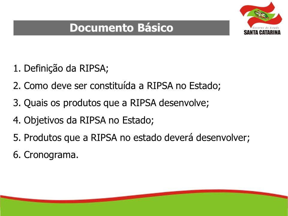 Documento Básico 1.Definição da RIPSA; 2.Como deve ser constituída a RIPSA no Estado; 3.Quais os produtos que a RIPSA desenvolve; 4.Objetivos da RIPSA