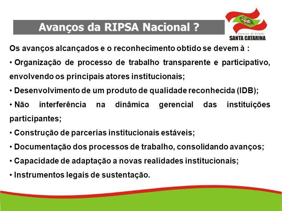 Avanços da RIPSA Nacional .