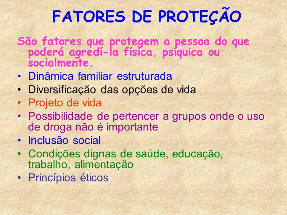 FATORES DE PROTEÇÃO São fatores que protegem a pessoa do que poderá agredí-la física, psíquica ou socialmente. Dinâmica familiar estruturada Diversifi