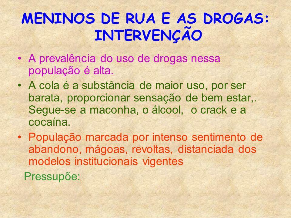MENINOS DE RUA E AS DROGAS: INTERVENÇÃO A prevalência do uso de drogas nessa população é alta. A cola é a substância de maior uso, por ser barata, pro