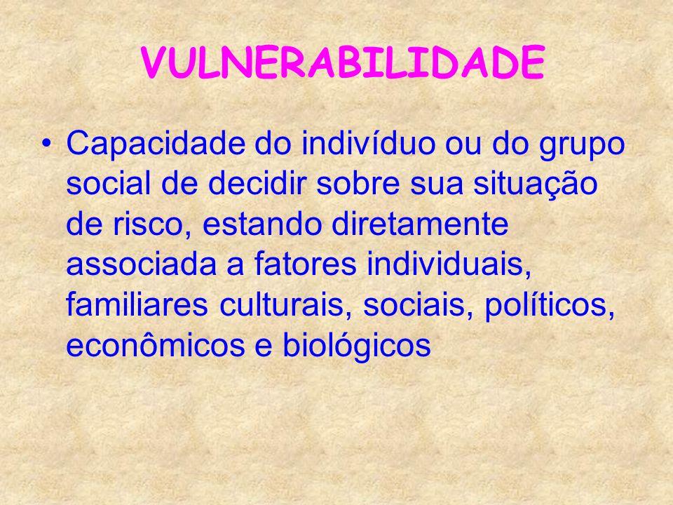 VULNERABILIDADE Capacidade do indivíduo ou do grupo social de decidir sobre sua situação de risco, estando diretamente associada a fatores individuais
