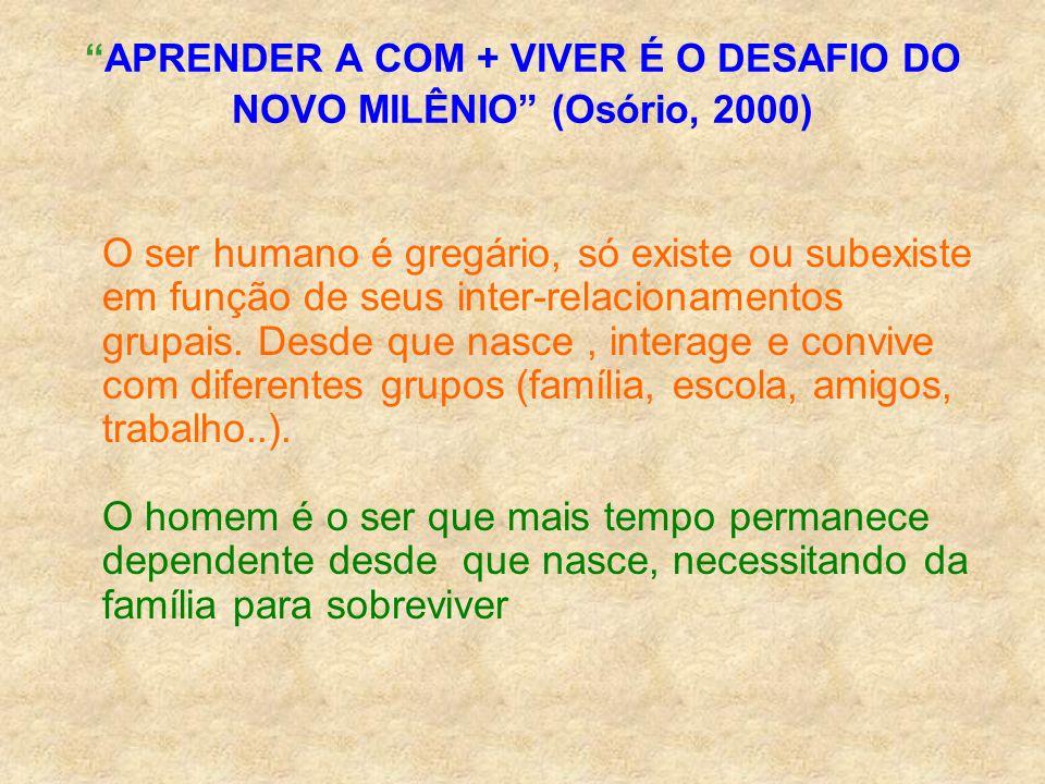 APRENDER A COM + VIVER É O DESAFIO DO NOVO MILÊNIO (Osório, 2000) O ser humano é gregário, só existe ou subexiste em função de seus inter-relacionamen