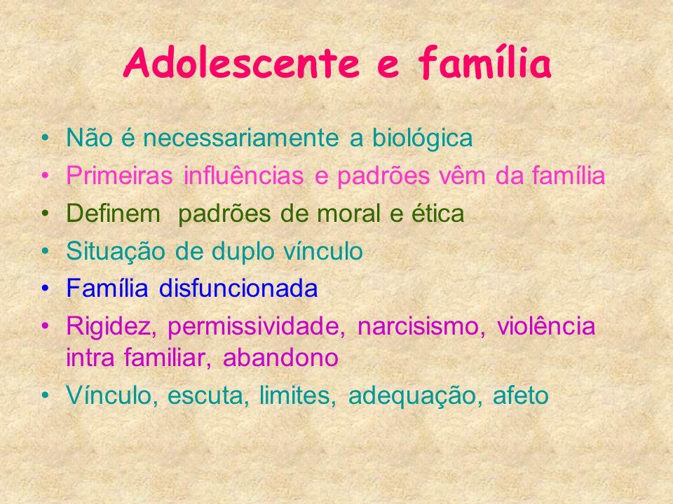 Adolescente e família Não é necessariamente a biológica Primeiras influências e padrões vêm da família Definem padrões de moral e ética Situação de du