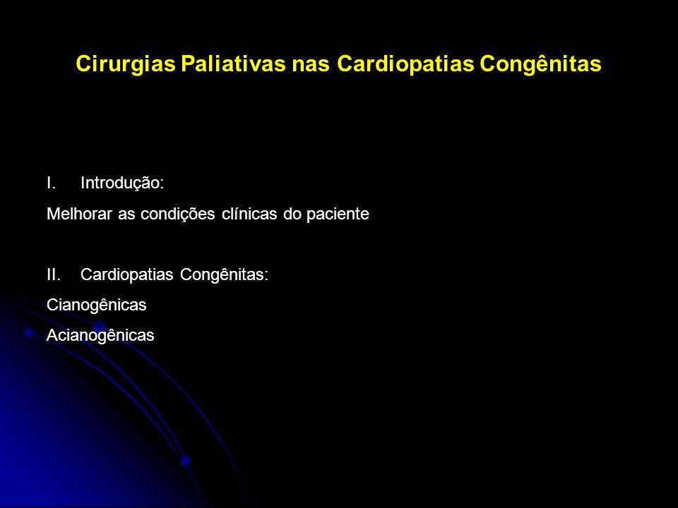 Cirurgias Paliativas nas Cardiopatias Congênitas I.Introdução: Melhorar as condições clínicas do paciente II.Cardiopatias Congênitas: Cianogênicas Aci