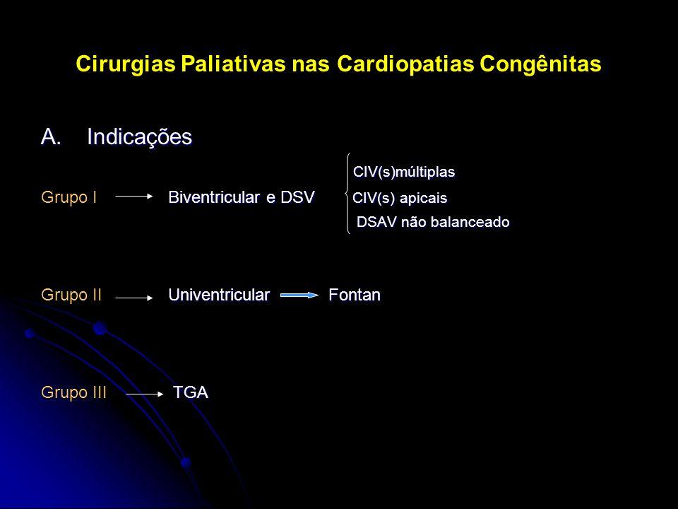Cirurgias Paliativas nas Cardiopatias Congênitas A. Indicações CIV(s)múltiplas CIV(s)múltiplas Biventricular e DSV CIV(s) apicais Grupo I Biventricula