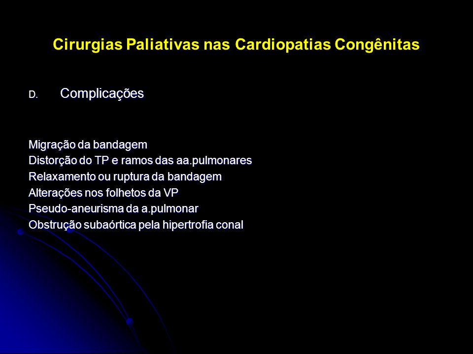 Cirurgias Paliativas nas Cardiopatias Congênitas D. Complicações Migração da bandagem Distorção do TP e ramos das aa.pulmonares Relaxamento ou ruptura