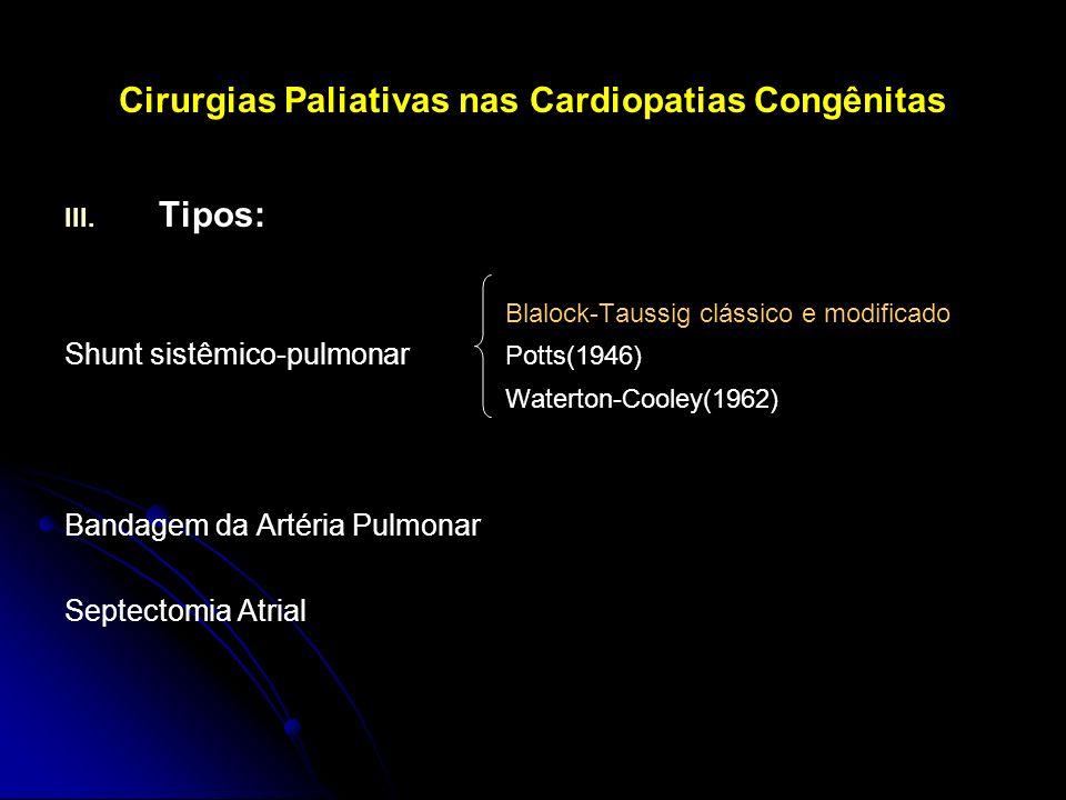 Cirurgias Paliativas nas Cardiopatias Congênitas III. III. Tipos: Blalock-Taussig clássico e modificado Shunt sistêmico-pulmonar Potts(1946) Waterton-