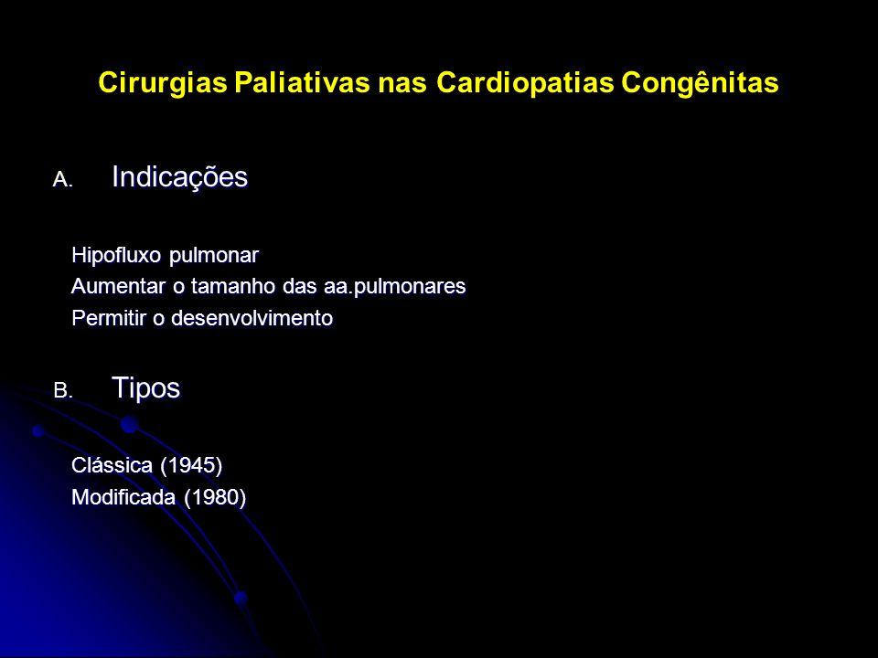Cirurgias Paliativas nas Cardiopatias Congênitas A. Indicações Hipofluxo pulmonar Hipofluxo pulmonar Aumentar o tamanho das aa.pulmonares Aumentar o t