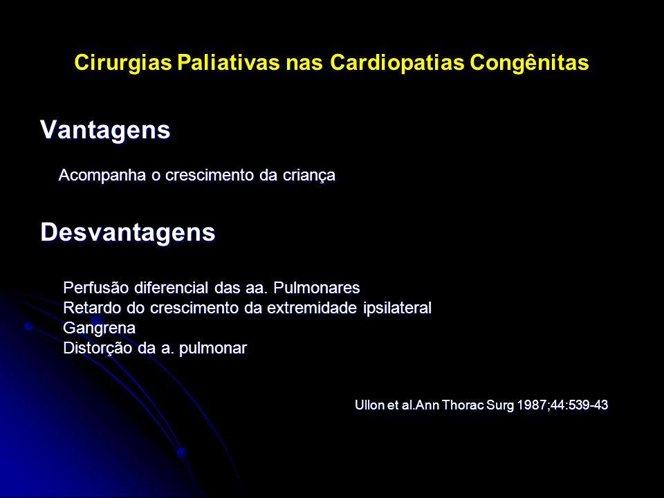 Cirurgias Paliativas nas Cardiopatias Congênitas Vantagens Acompanha o crescimento da criança Acompanha o crescimento da criançaDesvantagens Perfusão
