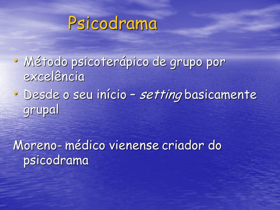 Psicodrama Psicodrama Método psicoterápico de grupo por excelência Método psicoterápico de grupo por excelência Desde o seu início – setting basicamen