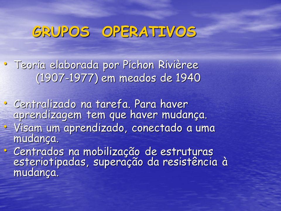 GRUPOS OPERATIVOS GRUPOS OPERATIVOS Teoria elaborada por Pichon Rivièree Teoria elaborada por Pichon Rivièree (1907-1977) em meados de 1940 (1907-1977