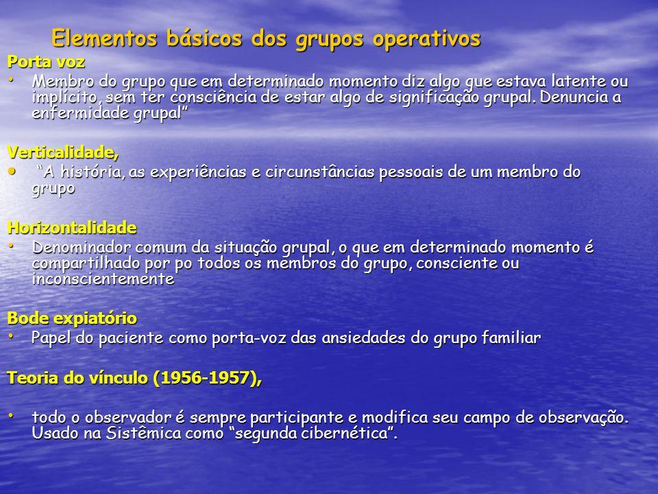Elementos básicos dos grupos operativos Elementos básicos dos grupos operativos Porta voz Membro do grupo que em determinado momento diz algo que esta