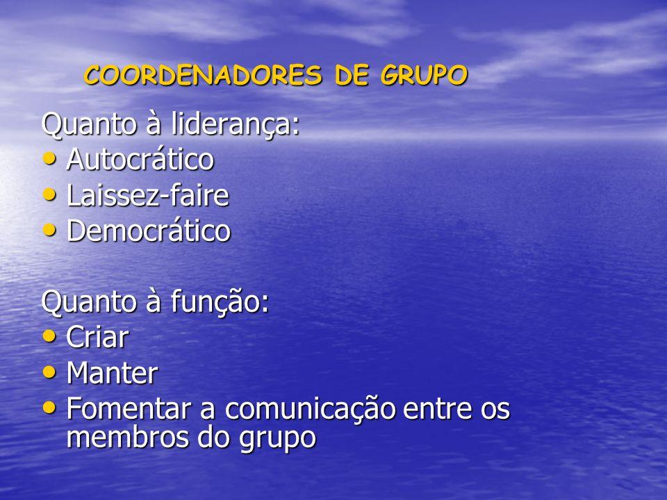 COORDENADORES DE GRUPO COORDENADORES DE GRUPO Quanto à liderança: Autocrático Autocrático Laissez-faire Laissez-faire Democrático Democrático Quanto à
