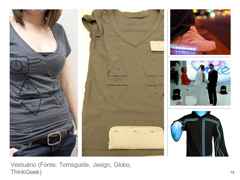Vestuário (Fonte: Tomsguide, Jesign, Globo, ThinkGeek) 13