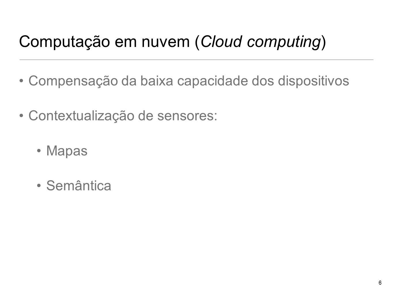 Computação em nuvem (Cloud computing) Compensação da baixa capacidade dos dispositivos Contextualização de sensores: Mapas Semântica 6