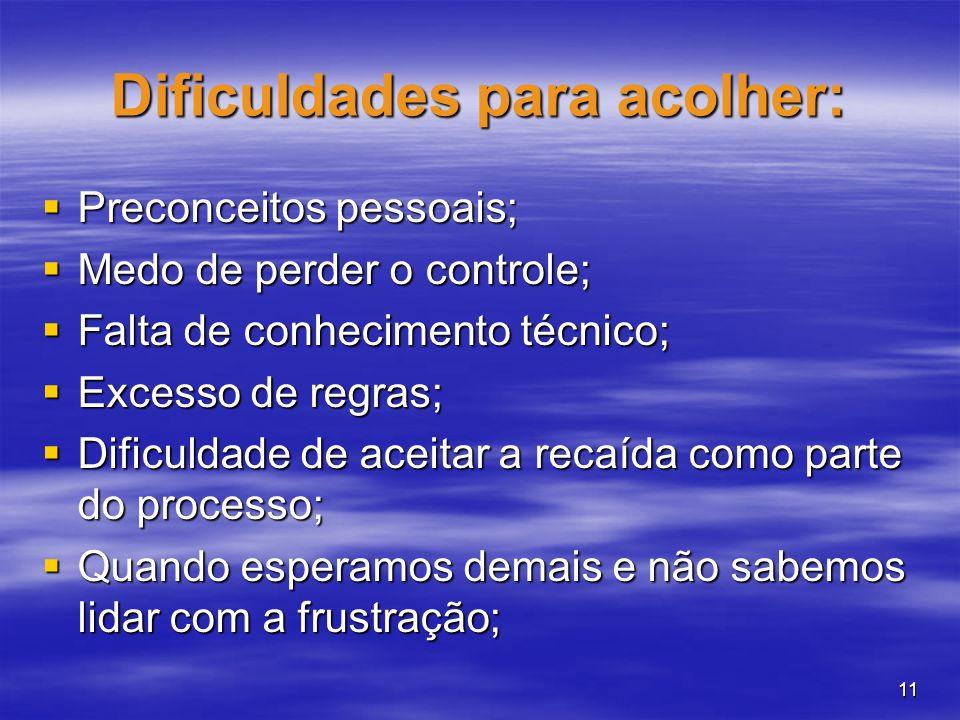 11 Dificuldades para acolher: Preconceitos pessoais; Preconceitos pessoais; Medo de perder o controle; Medo de perder o controle; Falta de conheciment