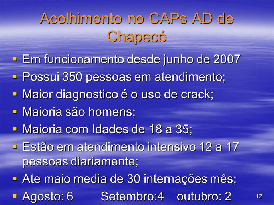 12 Acolhimento no CAPs AD de Chapecó Em funcionamento desde junho de 2007 Em funcionamento desde junho de 2007 Possui 350 pessoas em atendimento; Poss