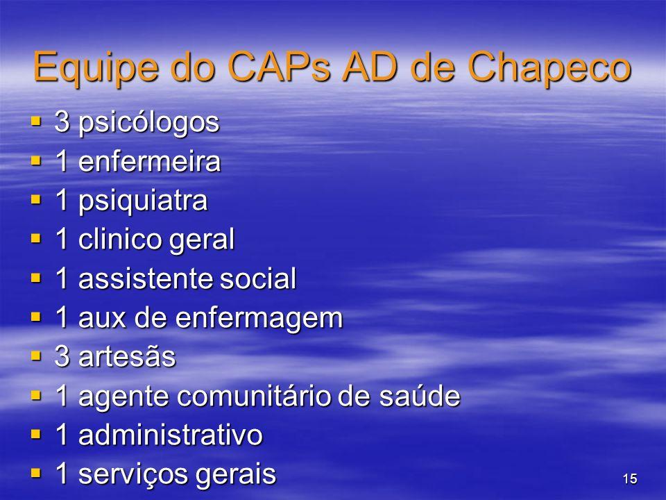 15 Equipe do CAPs AD de Chapeco 3 psicólogos 3 psicólogos 1 enfermeira 1 enfermeira 1 psiquiatra 1 psiquiatra 1 clinico geral 1 clinico geral 1 assist