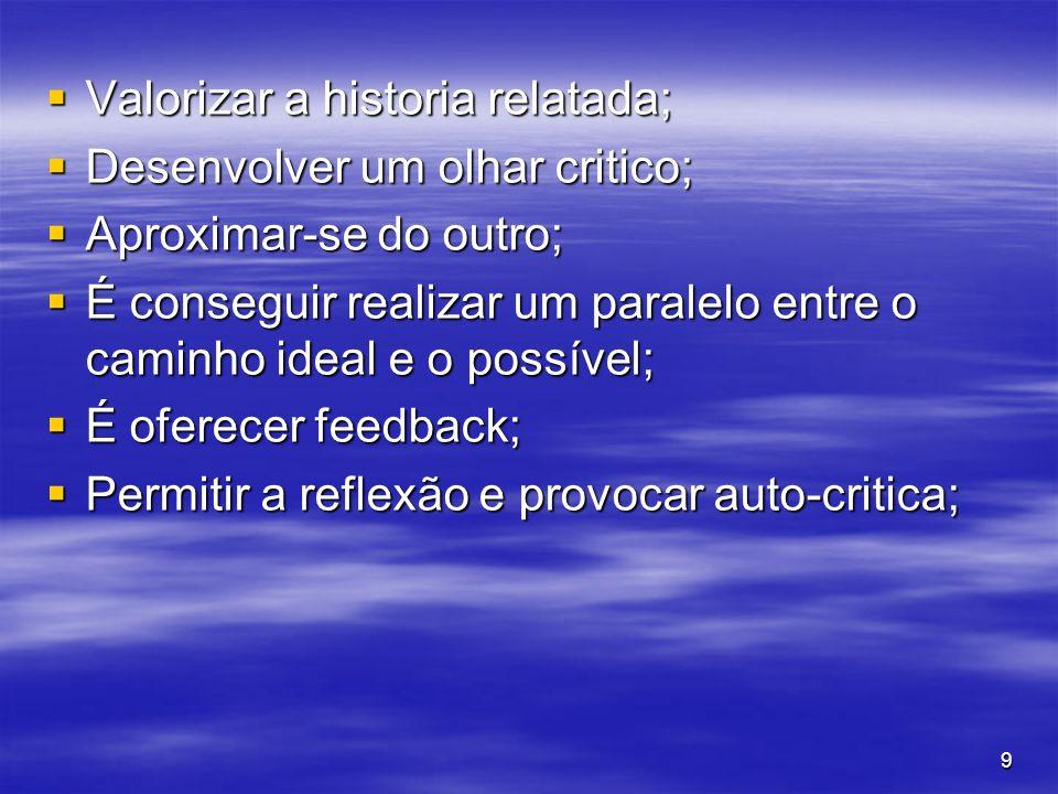 9 Valorizar a historia relatada; Valorizar a historia relatada; Desenvolver um olhar critico; Desenvolver um olhar critico; Aproximar-se do outro; Apr