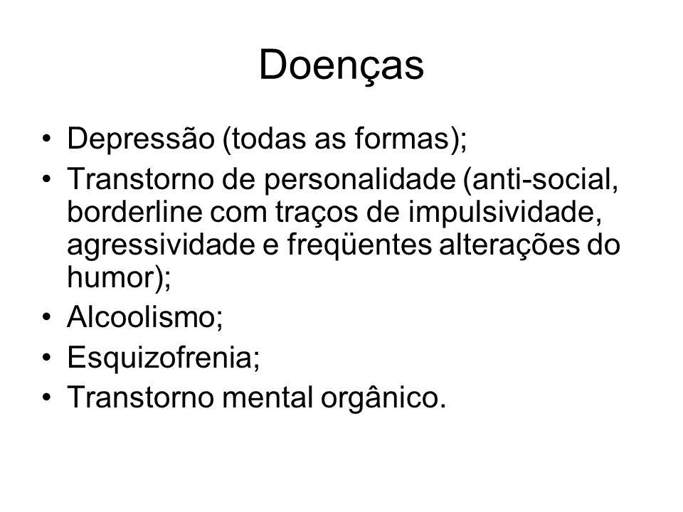 Doenças Depressão (todas as formas); Transtorno de personalidade (anti-social, borderline com traços de impulsividade, agressividade e freqüentes alterações do humor); Alcoolismo; Esquizofrenia; Transtorno mental orgânico.