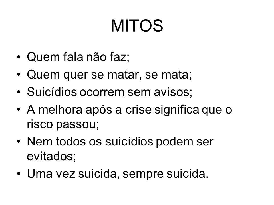 MITOS Quem fala não faz; Quem quer se matar, se mata; Suicídios ocorrem sem avisos; A melhora após a crise significa que o risco passou; Nem todos os suicídios podem ser evitados; Uma vez suicida, sempre suicida.
