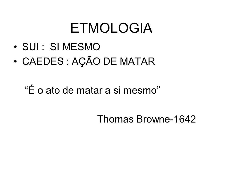 ETMOLOGIA SUI : SI MESMO CAEDES : AÇÃO DE MATAR É o ato de matar a si mesmo Thomas Browne-1642