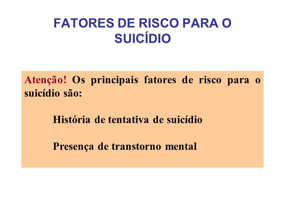 FATORES DE RISCO PARA O SUICÍDIO Atenção.