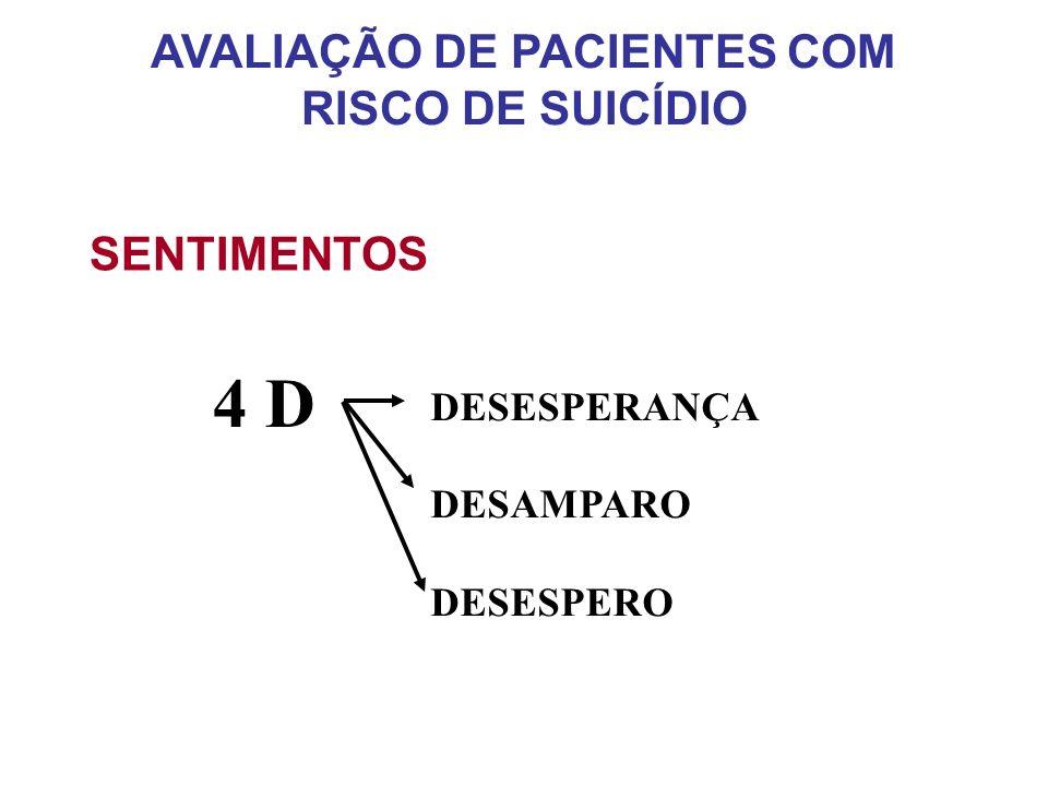 SENTIMENTOS 4 D DESESPERANÇA DESAMPARO DESESPERO AVALIAÇÃO DE PACIENTES COM RISCO DE SUICÍDIO