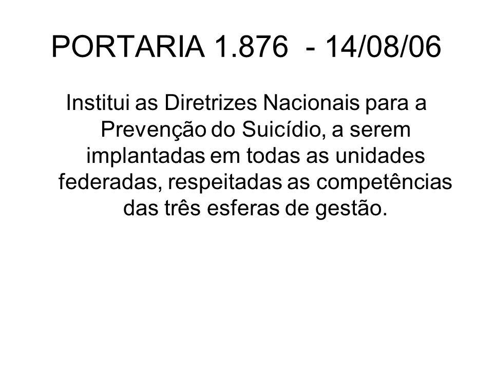 PORTARIA 1.876 - 14/08/06 Institui as Diretrizes Nacionais para a Prevenção do Suicídio, a serem implantadas em todas as unidades federadas, respeitadas as competências das três esferas de gestão.
