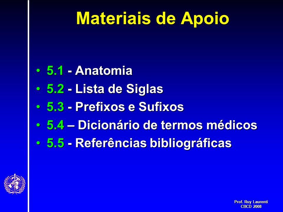 Prof. Ruy Laurenti CBCD 2008 Materiais de Apoio 5.1 - Anatomia5.1 - Anatomia 5.2 - Lista de Siglas5.2 - Lista de Siglas 5.3 - Prefixos e Sufixos5.3 -
