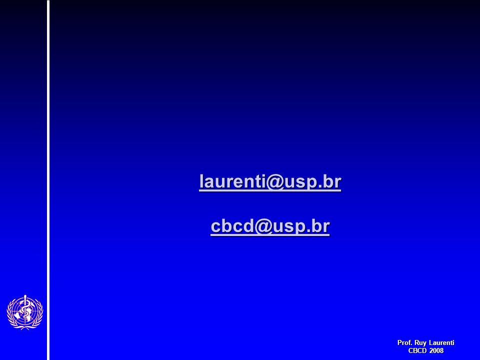 Prof. Ruy Laurenti CBCD 2008 laurenti@usp.br cbcd@usp.br