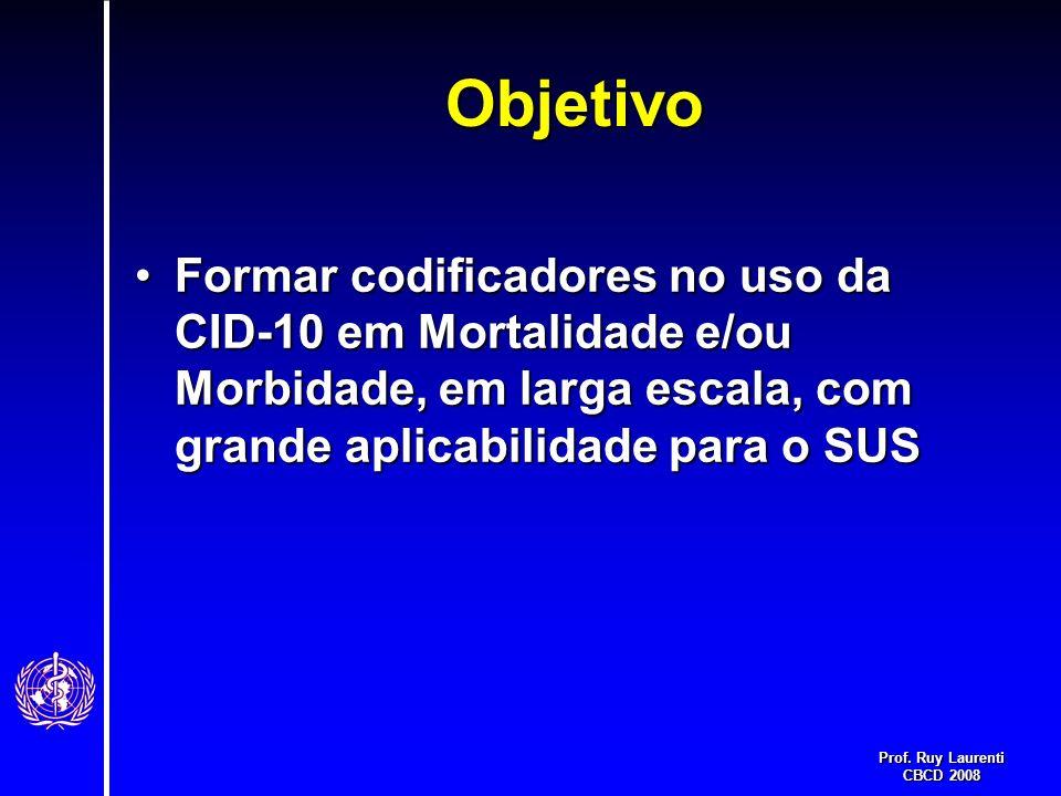 Prof. Ruy Laurenti CBCD 2008 Objetivo Formar codificadores no uso da CID-10 em Mortalidade e/ou Morbidade, em larga escala, com grande aplicabilidade