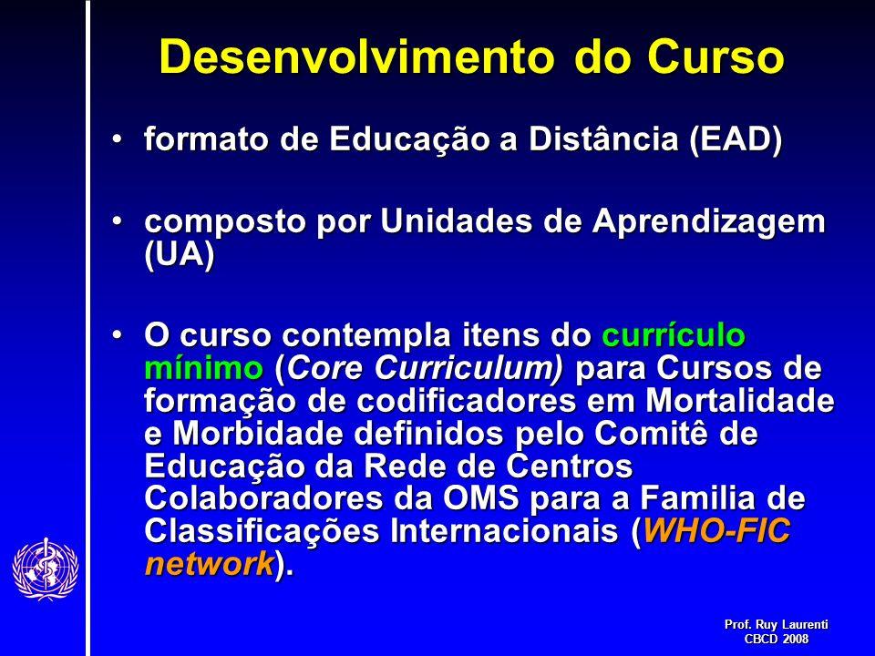 Prof. Ruy Laurenti CBCD 2008 Desenvolvimento do Curso formato de Educação a Distância (EAD)formato de Educação a Distância (EAD) composto por Unidades