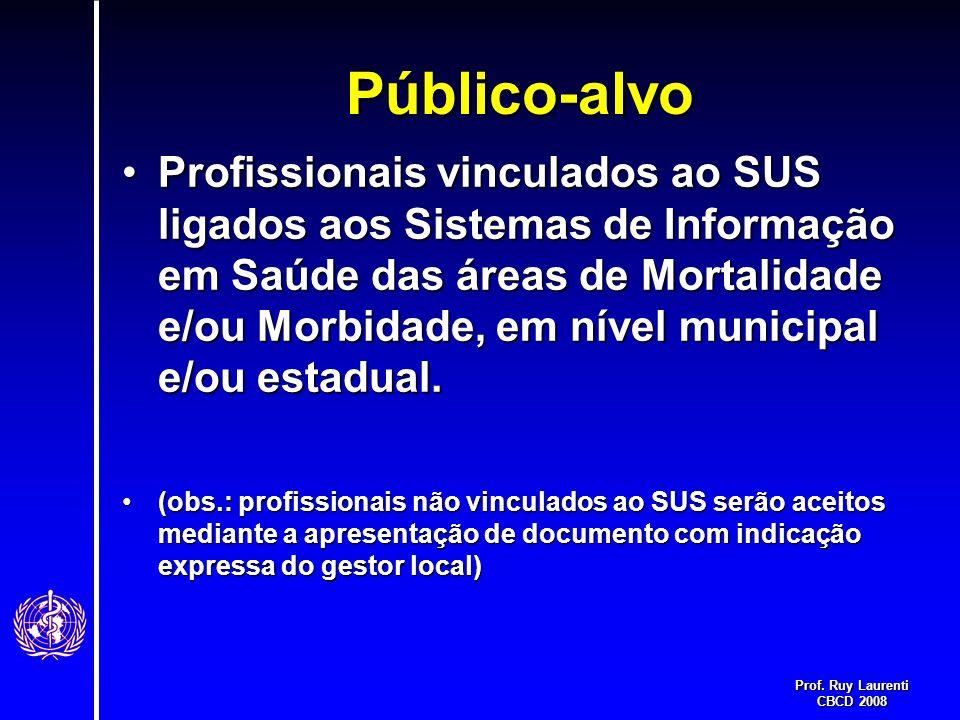 Prof. Ruy Laurenti CBCD 2008 Público-alvo Profissionais vinculados ao SUS ligados aos Sistemas de Informação em Saúde das áreas de Mortalidade e/ou Mo