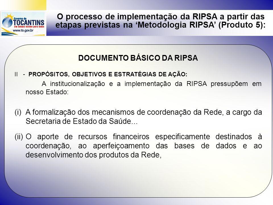 O processo de implementação da RIPSA a partir das etapas previstas na Metodologia RIPSA (Produto 5): DOCUMENTO BÁSICO DA RIPSA II - PROPÓSITOS, OBJETI