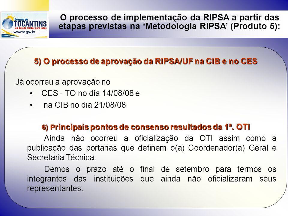 O processo de implementação da RIPSA a partir das etapas previstas na Metodologia RIPSA (Produto 5): 5) O processo de aprovação da RIPSA/UF na CIB e n
