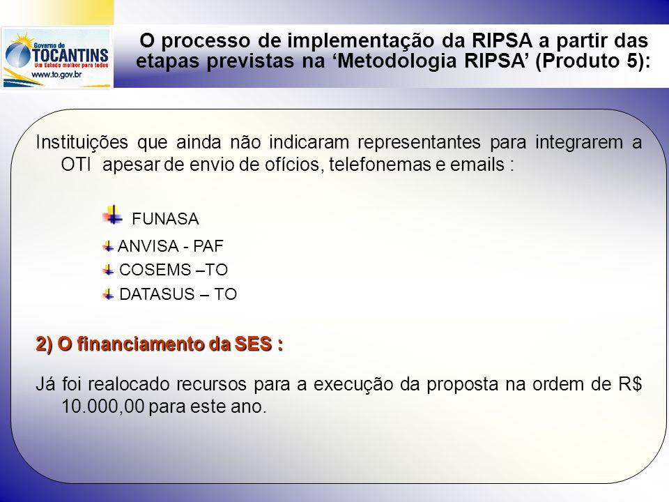 O processo de implementação da RIPSA a partir das etapas previstas na Metodologia RIPSA (Produto 5): 5) O processo de aprovação da RIPSA/UF na CIB e no CES Já ocorreu a aprovação no CES - TO no dia 14/08/08 e na CIB no dia 21/08/08 6) P rincipais pontos de consenso resultados da 1ª.