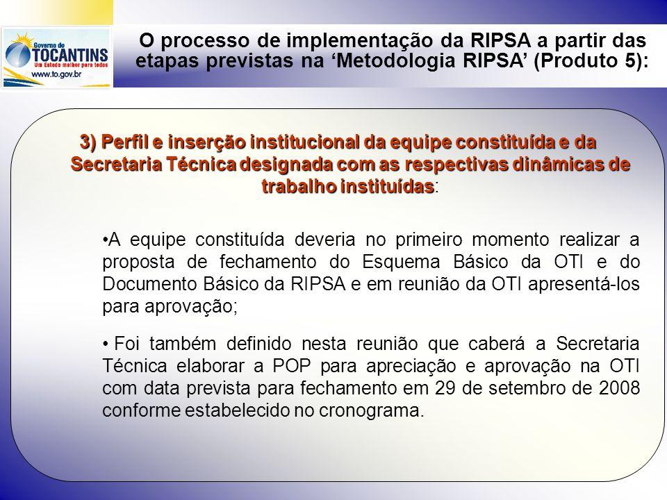 O processo de implementação da RIPSA a partir das etapas previstas na Metodologia RIPSA (Produto 5): 3) Participaram desta reunião integrantes de várias instituições conforme lista anexa: